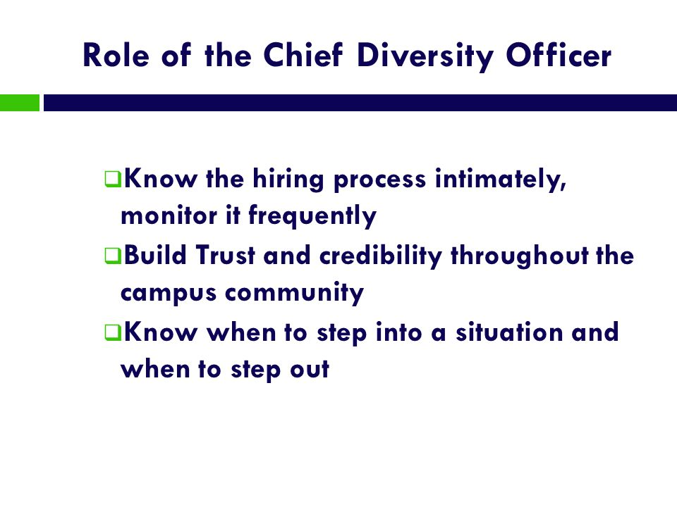 Role of the Chief Diversity Officer Know the hiring process intimately, monitor it frequently Build Trust and credibility throughout the campus commun