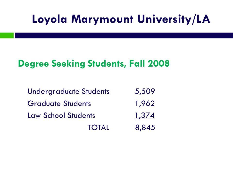 Loyola Marymount University/LA Degree Seeking Students, Fall 2008 Undergraduate Students 5,509 Graduate Students 1,962 Law School Students 1,374 TOTAL