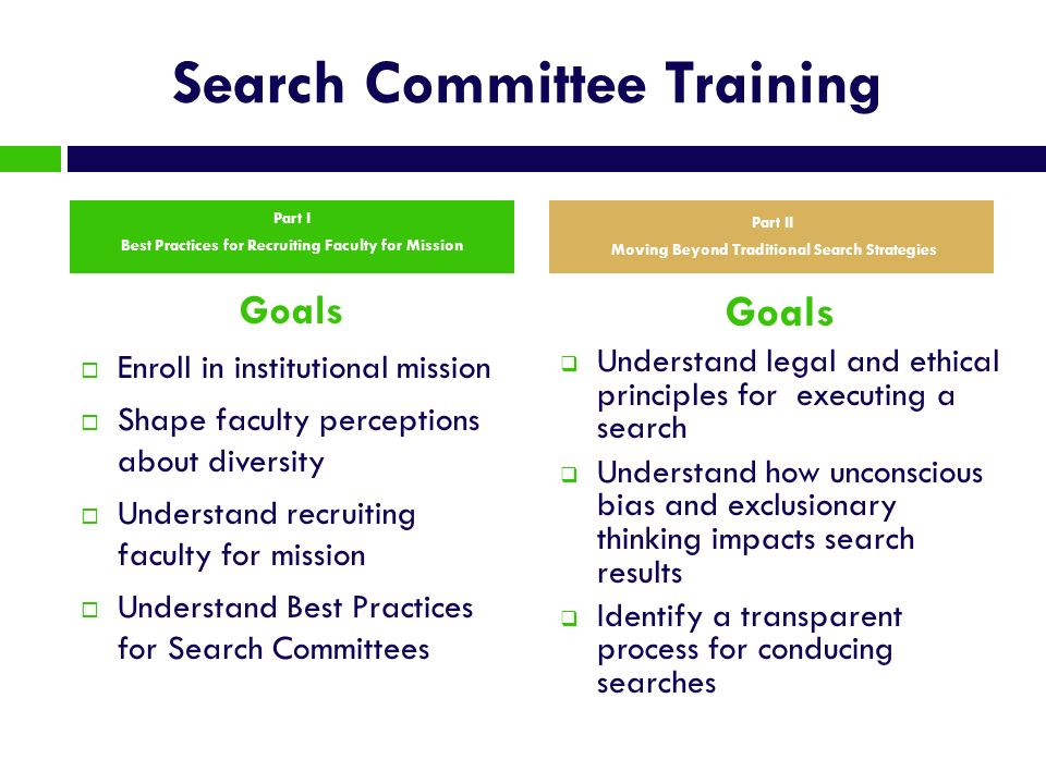 Search Committee Training Goals Enroll in institutional mission Shape faculty perceptions about diversity Understand recruiting faculty for mission Un