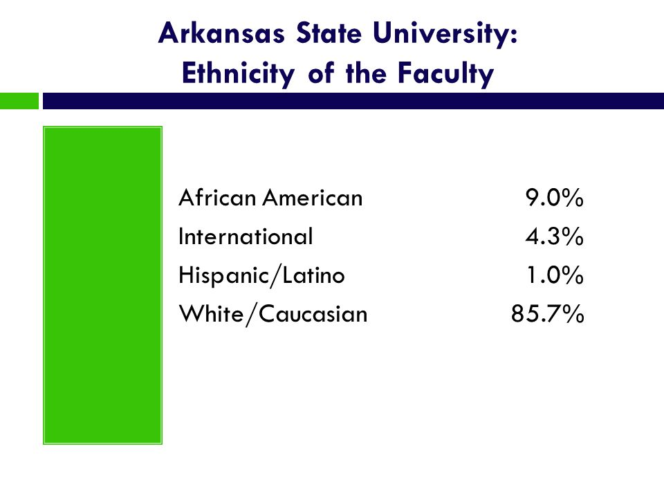 Arkansas State University: Ethnicity of the Faculty African American 9.0% International 4.3% Hispanic/Latino 1.0% White/Caucasian85.7%