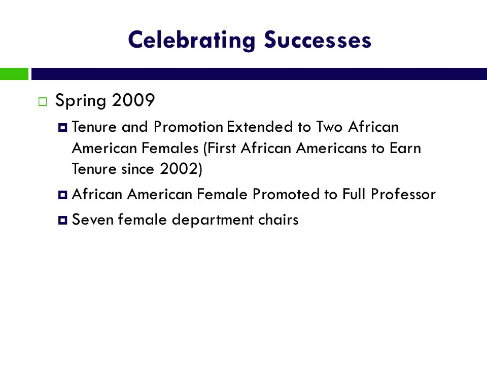 Celebrating Successes Spring 2009 Tenure and Promotion Extended to Two African American Females (First African Americans to Earn Tenure since 2002) Af
