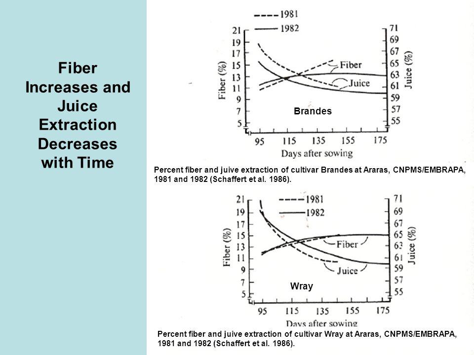 Percent fiber and juive extraction of cultivar Brandes at Araras, CNPMS/EMBRAPA, 1981 and 1982 (Schaffert et al. 1986). Percent fiber and juive extrac