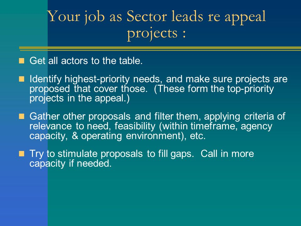 Your job as Sector leads re appeal projects : Get all actors to the table. Identify highest-priority needs, and make sure projects are proposed that c