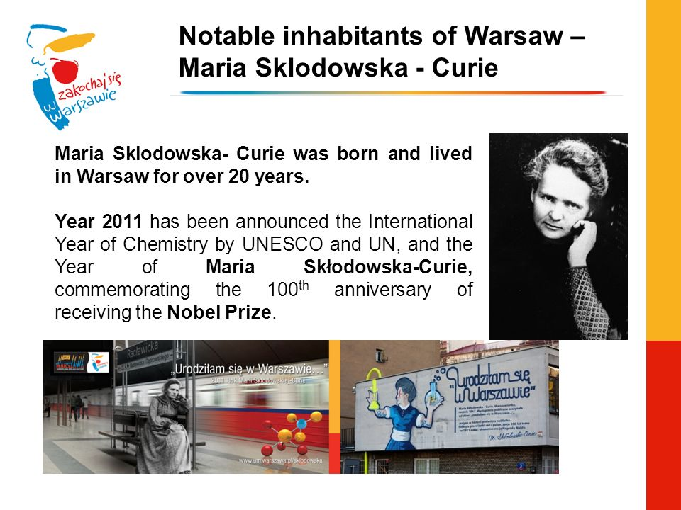 Notable inhabitants of Warsaw – Maria Sklodowska - Curie Maria Sklodowska- Curie was born and lived in Warsaw for over 20 years. Year 2011 has been an