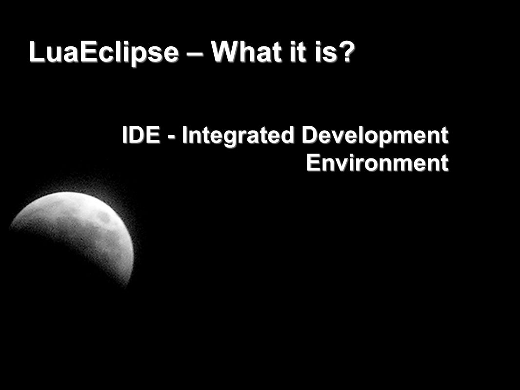 The Eclipse platform Strong presence in several areas - SOA orchestration - Java development - web and script langugages - C/C++ development - mobile platforms (including linux mobile and symbian) - microcontrollers
