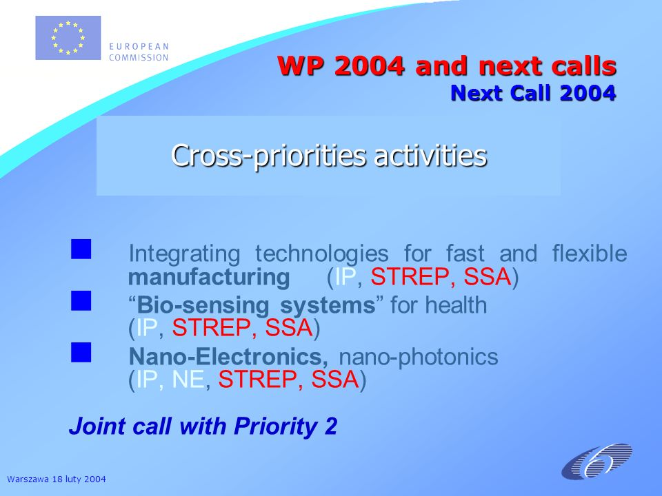 Warszawa 18 luty 2004 Integrating technologies for fast and flexible manufacturing (IP, STREP, SSA) Bio-sensing systems for health (IP, STREP, SSA) Na