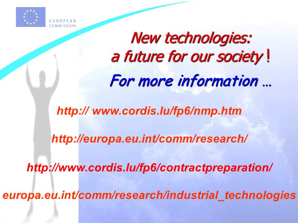 Warszawa 18 luty 2004 New technologies: a future for our society ! For more information … europa.eu.int/comm/research/industrial_technologies http://e