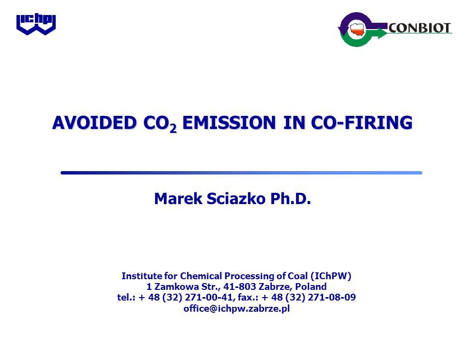 AVOIDED CO 2 EMISSION IN CO-FIRING Marek Sciazko Ph.D.