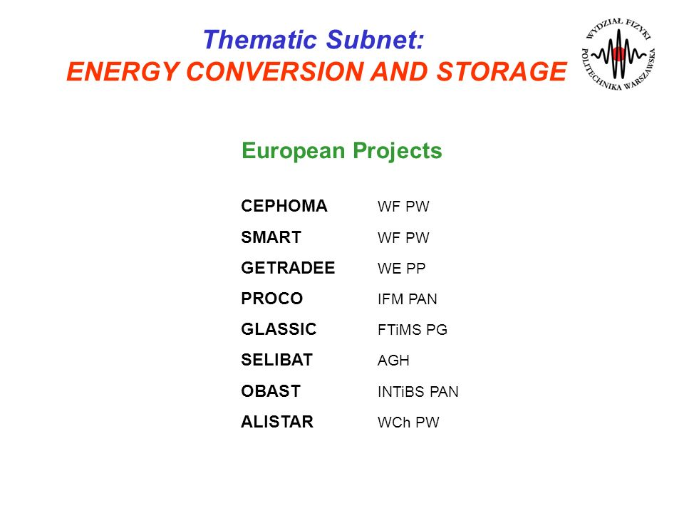 Thematic Subnet: ENERGY CONVERSION AND STORAGE CEPHOMA WF PW SMART WF PW GETRADEE WE PP PROCO IFM PAN GLASSIC FTiMS PG SELIBAT AGH OBAST INTiBS PAN AL