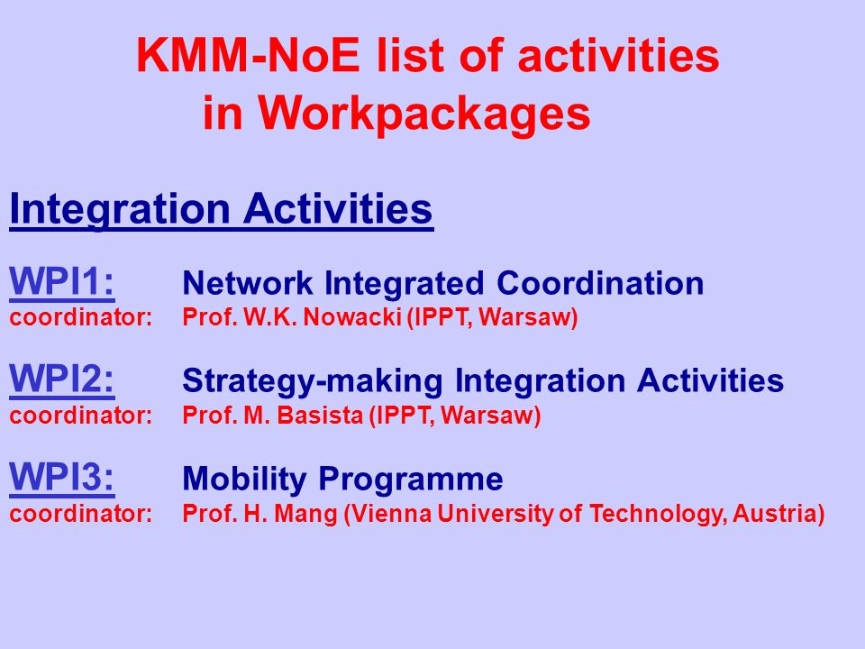 Integration Activities WPI1: Network Integrated Coordination coordinator: Prof.