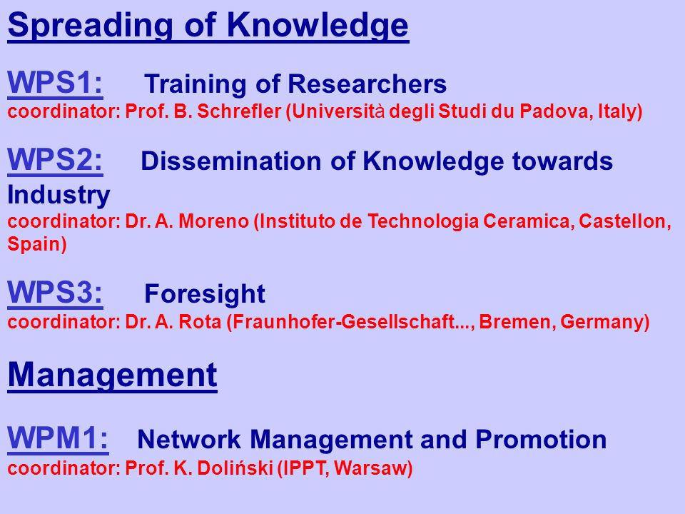 Spreading of Knowledge WPS1: Training of Researchers coordinator: Prof.