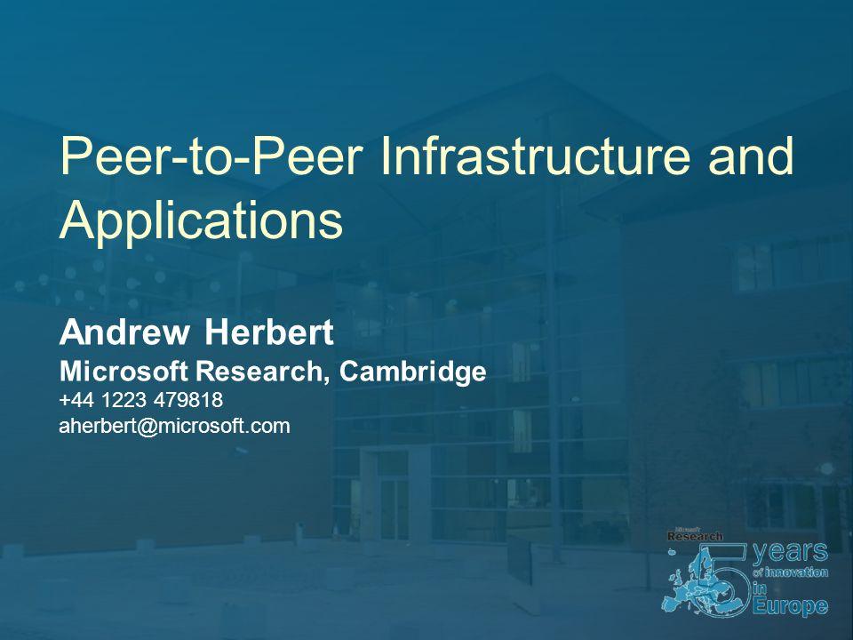 Peer-to-Peer Infrastructure and Applications Andrew Herbert Microsoft Research, Cambridge +44 1223 479818 aherbert@microsoft.com