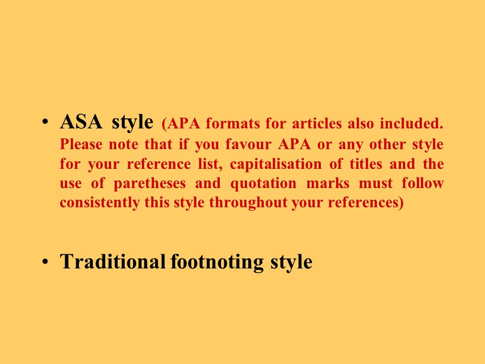ASA style (APA formats for articles also included.