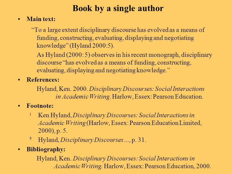 Book by a single author Main text: To a large extent disciplinary discourse has evolved as a means of funding, constructing, evaluating, displaying and negotiating knowledge (Hyland 2000:5).
