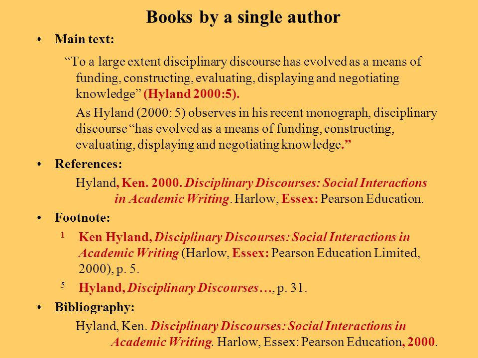 Books by a single author Main text: To a large extent disciplinary discourse has evolved as a means of funding, constructing, evaluating, displaying and negotiating knowledge (Hyland 2000:5).