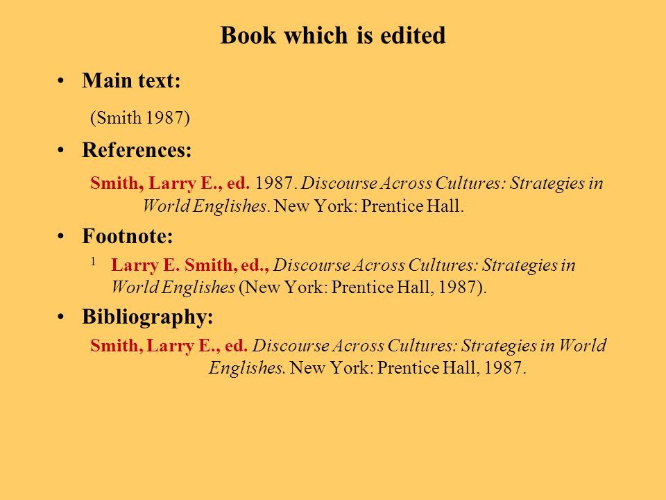 Book which is edited Main text: (Smith 1987) References: Smith, Larry E., ed. 1987. Discourse Across Cultures: Strategies in World Englishes. New York