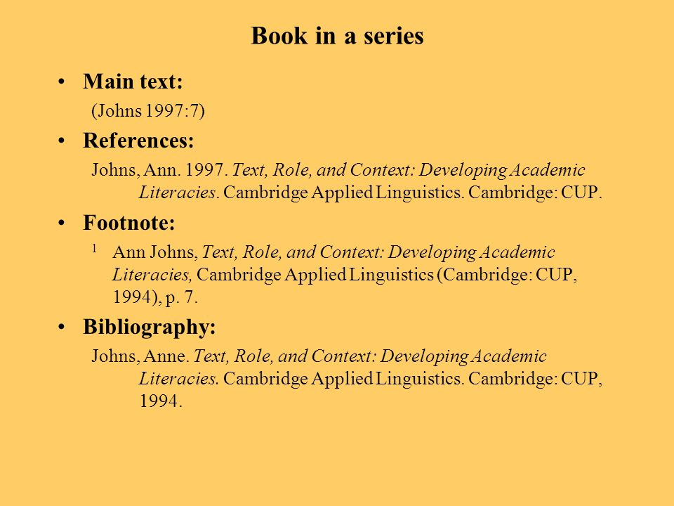 Book in a series Main text: (Johns 1997:7) References: Johns, Ann. 1997. Text, Role, and Context: Developing Academic Literacies. Cambridge Applied Li