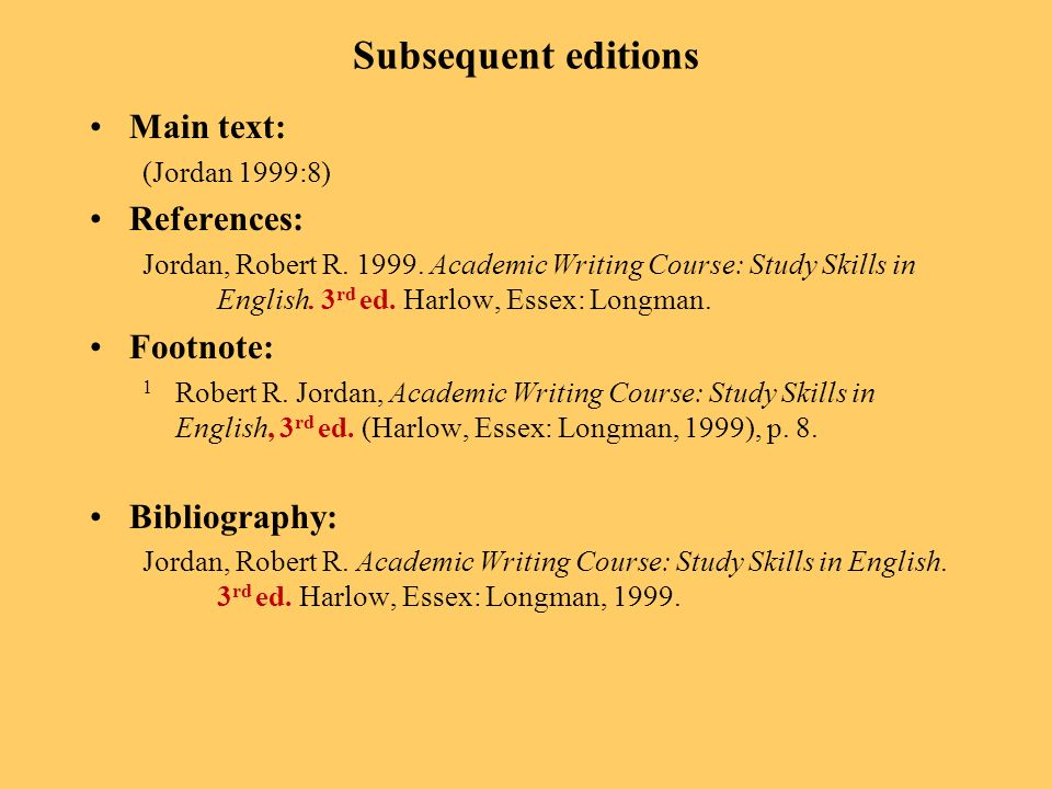 Subsequent editions Main text: (Jordan 1999:8) References: Jordan, Robert R.
