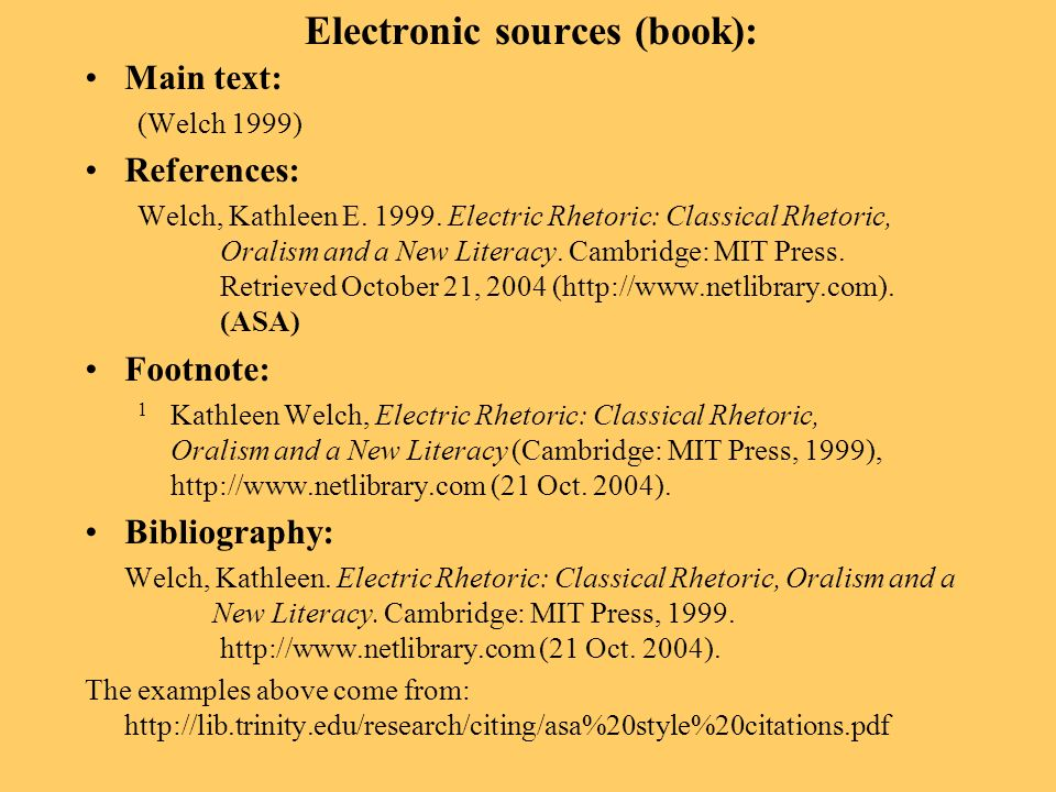 Electronic sources (book): Main text: (Welch 1999) References: Welch, Kathleen E. 1999. Electric Rhetoric: Classical Rhetoric, Oralism and a New Liter