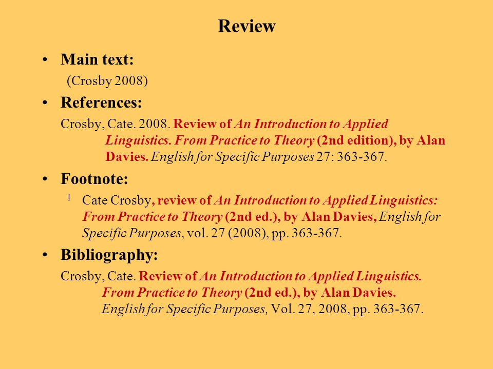 Review Main text: (Crosby 2008) References: Crosby, Cate.