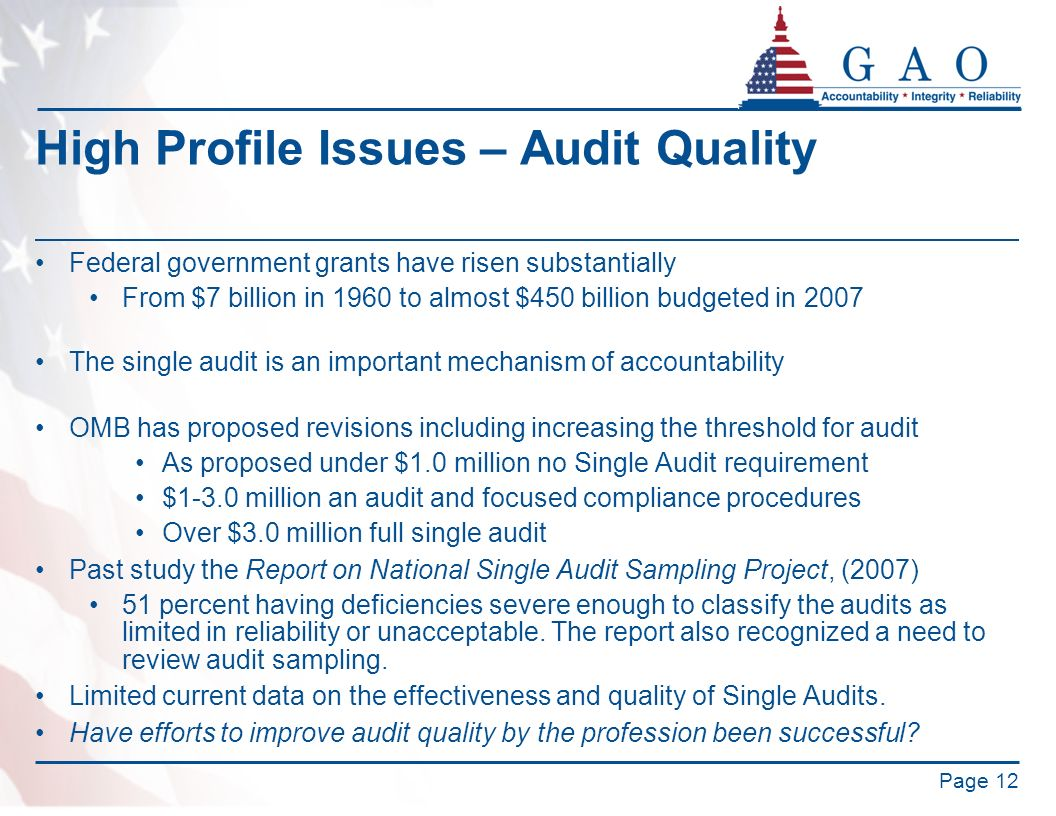 High Profile Issues – Audit Quality Federal government grants have risen substantially From $7 billion in 1960 to almost $450 billion budgeted in 2007