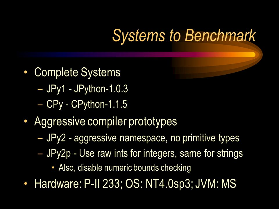 Systems to Benchmark Complete Systems –JPy1 - JPython-1.0.3 –CPy - CPython-1.1.5 Aggressive compiler prototypes –JPy2 - aggressive namespace, no primitive types –JPy2p - Use raw ints for integers, same for strings Also, disable numeric bounds checking Hardware: P-II 233; OS: NT4.0sp3; JVM: MS