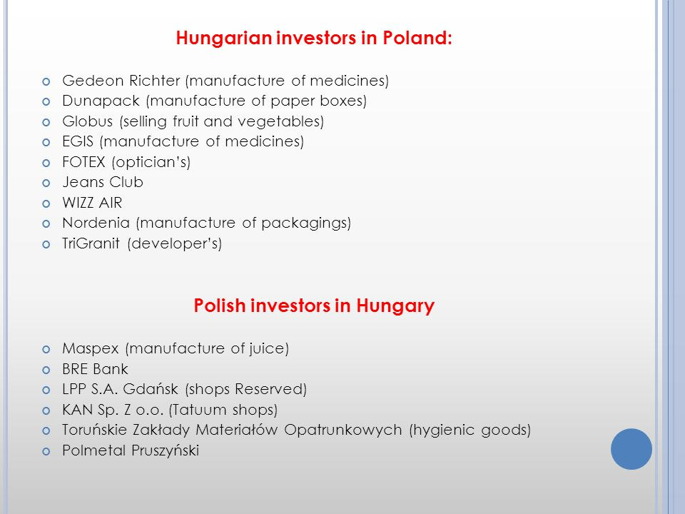 Hungarian investors in Poland: Gedeon Richter (manufacture of medicines) Dunapack (manufacture of paper boxes) Globus (selling fruit and vegetables) EGIS (manufacture of medicines) FOTEX (opticians) Jeans Club WIZZ AIR Nordenia (manufacture of packagings) TriGranit (developers) Polish investors in Hungary Maspex (manufacture of juice) BRE Bank LPP S.A.