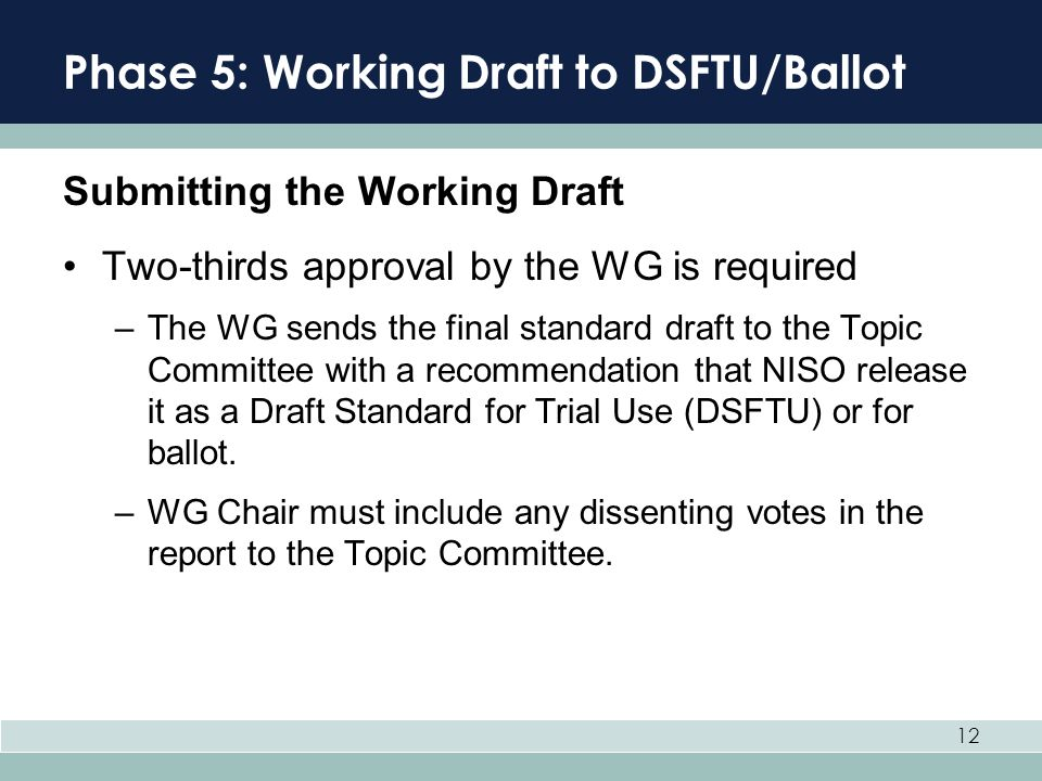 12 Phase 5: Working Draft to DSFTU/Ballot Submitting the Working Draft Two-thirds approval by the WG is required –The WG sends the final standard draf