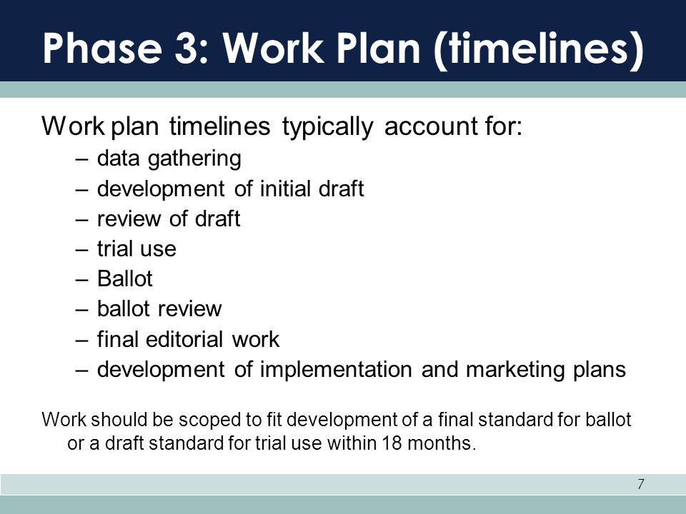 7 Phase 3: Work Plan (timelines) Work plan timelines typically account for: –data gathering –development of initial draft –review of draft –trial use