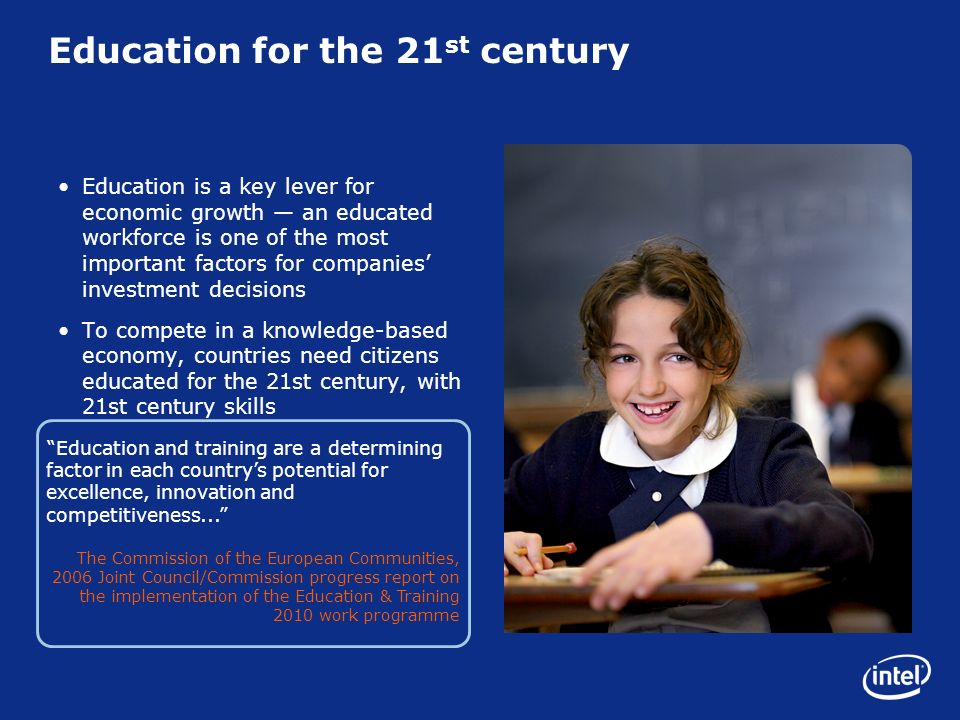 Education and training are a determining factor in each countrys potential for excellence, innovation and competitiveness...