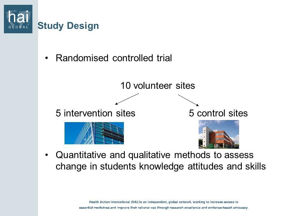 Study Design Randomised controlled trial 10 volunteer sites 5 intervention sites 5 control sites Quantitative and qualitative methods to assess change