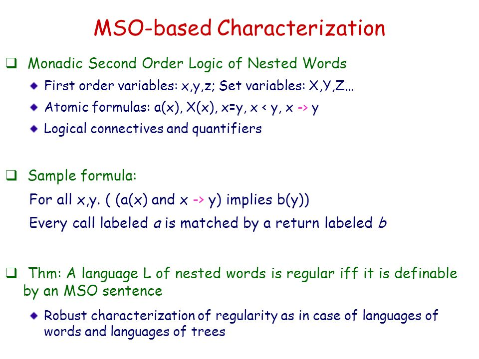 MSO-based Characterization Monadic Second Order Logic of Nested Words First order variables: x,y,z; Set variables: X,Y,Z… Atomic formulas: a(x), X(x),