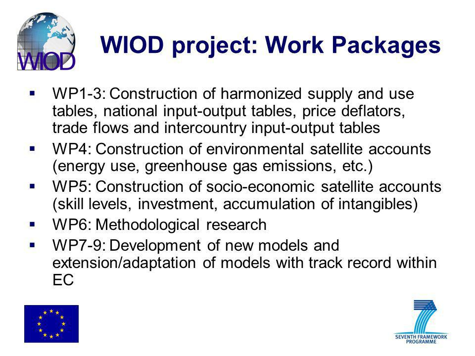 WIOD project: Work Packages WP1-3: Construction of harmonized supply and use tables, national input-output tables, price deflators, trade flows and in