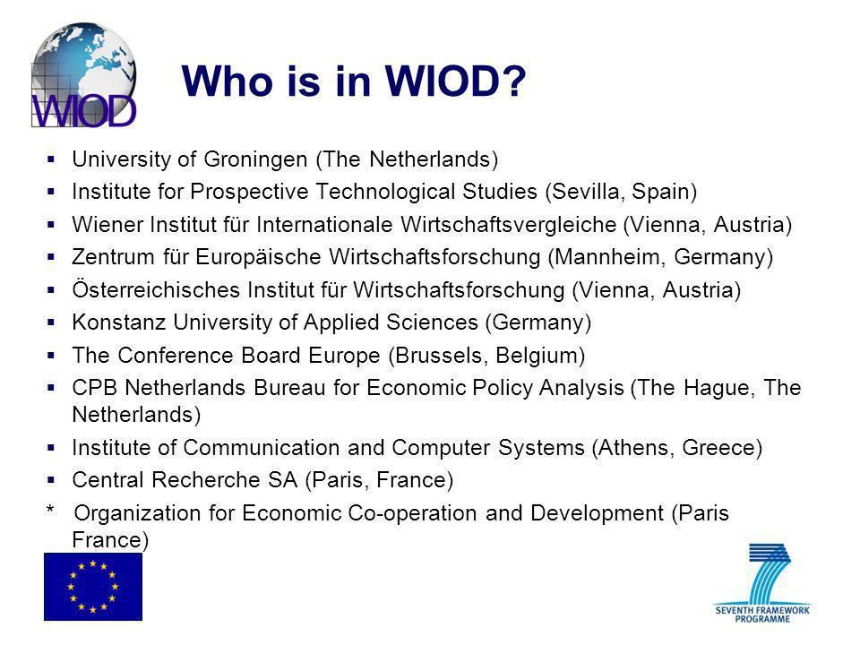 Who is in WIOD? University of Groningen (The Netherlands) Institute for Prospective Technological Studies (Sevilla, Spain) Wiener Institut für Interna