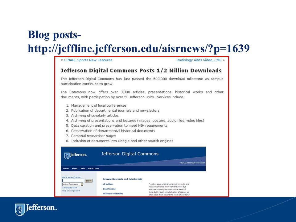 Blog posts- http://jeffline.jefferson.edu/aisrnews/?p=1639
