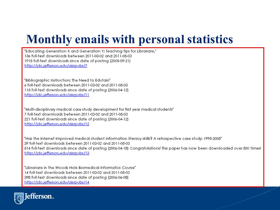 Monthly emails with personal statistics