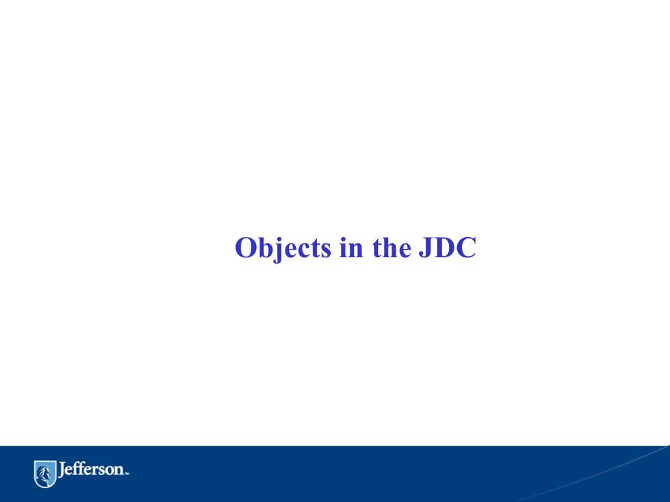 Objects in the JDC