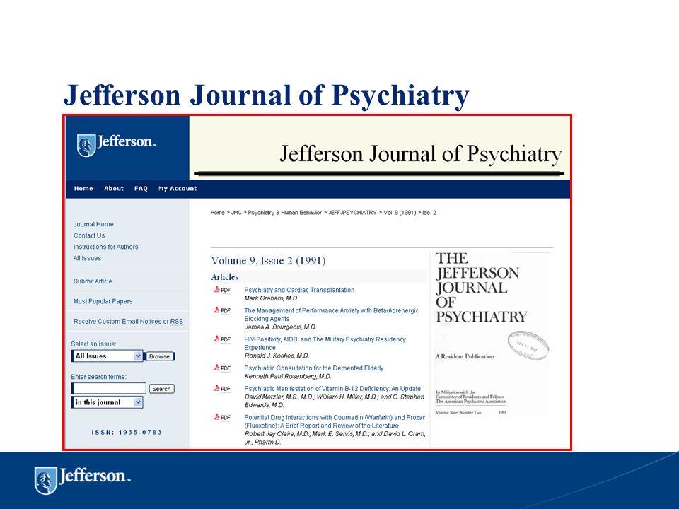 Jefferson Journal of Psychiatry