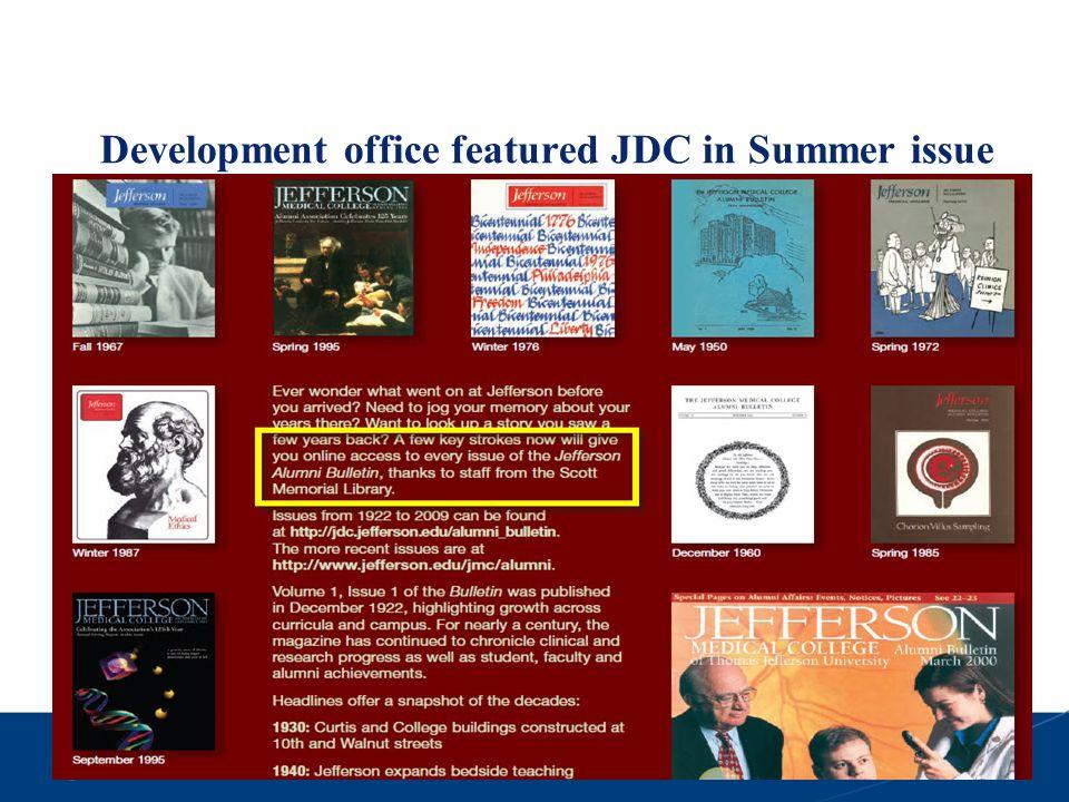 Development office featured JDC in Summer issue