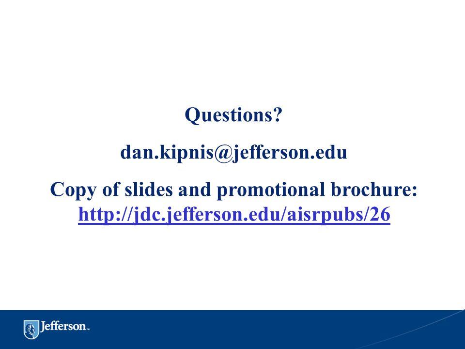 Questions? dan.kipnis@jefferson.edu Copy of slides and promotional brochure: http://jdc.jefferson.edu/aisrpubs/26 http://jdc.jefferson.edu/aisrpubs/26