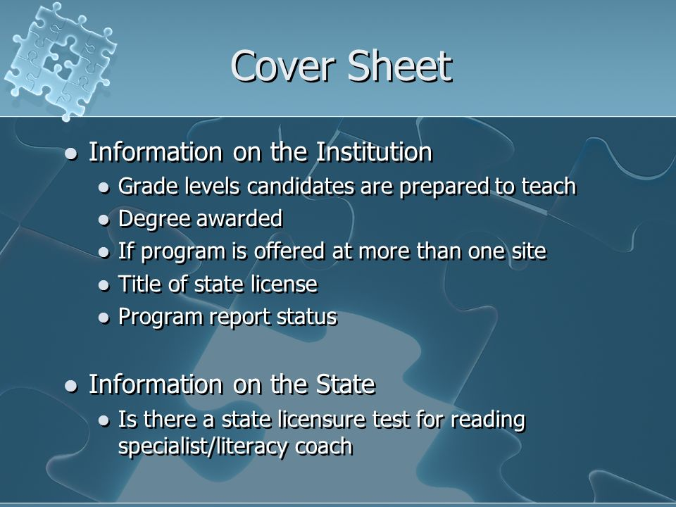 Cover Sheet Information on the Institution Grade levels candidates are prepared to teach Degree awarded If program is offered at more than one site Ti