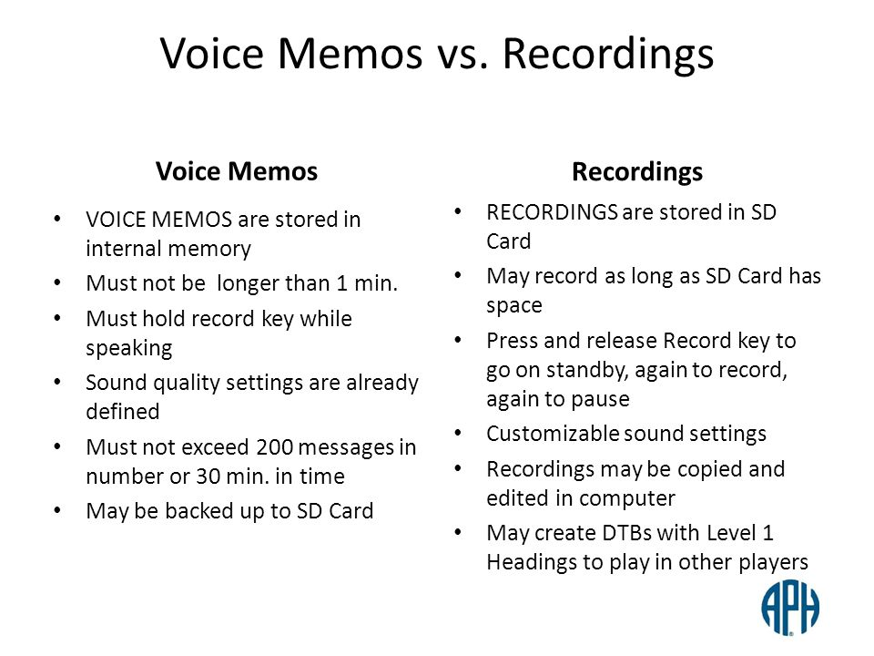 Voice Memos vs. Recordings Voice Memos VOICE MEMOS are stored in internal memory Must not be longer than 1 min. Must hold record key while speaking So