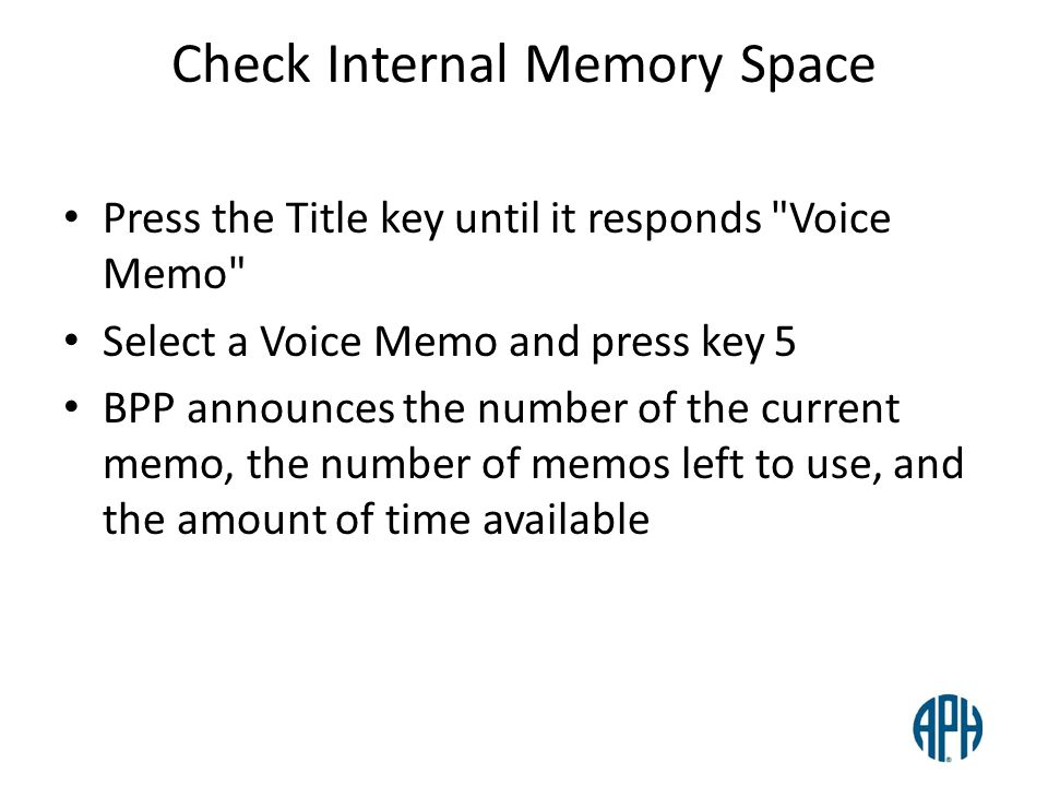Check Internal Memory Space Press the Title key until it responds