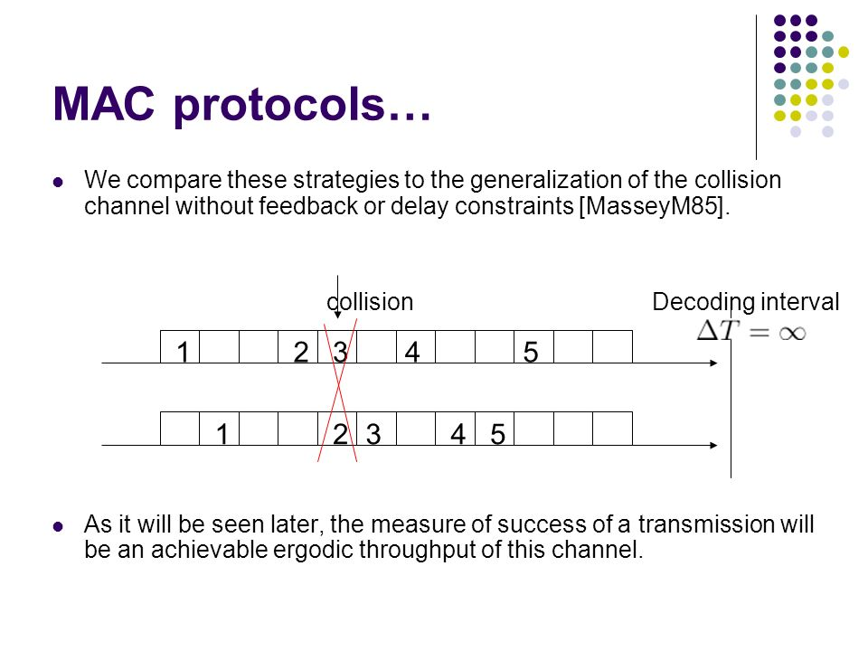 MAC protocols… We compare these strategies to the generalization of the collision channel without feedback or delay constraints [MasseyM85]. As it wil