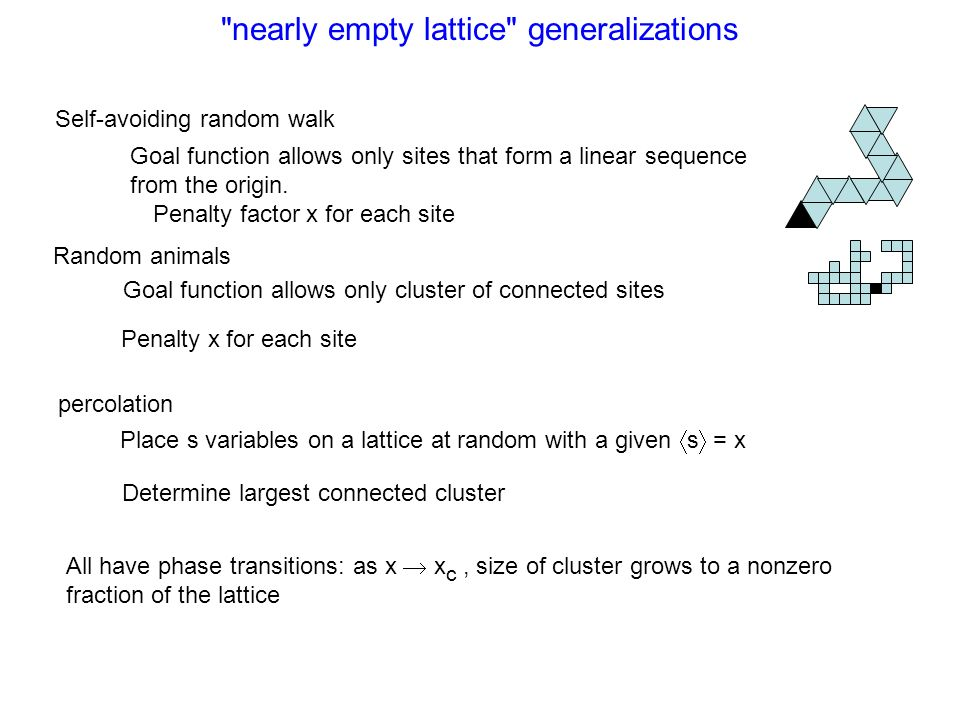 nearly empty lattice generalizations Self-avoiding random walk Random animals percolation Goal function allows only sites that form a linear sequence from the origin.