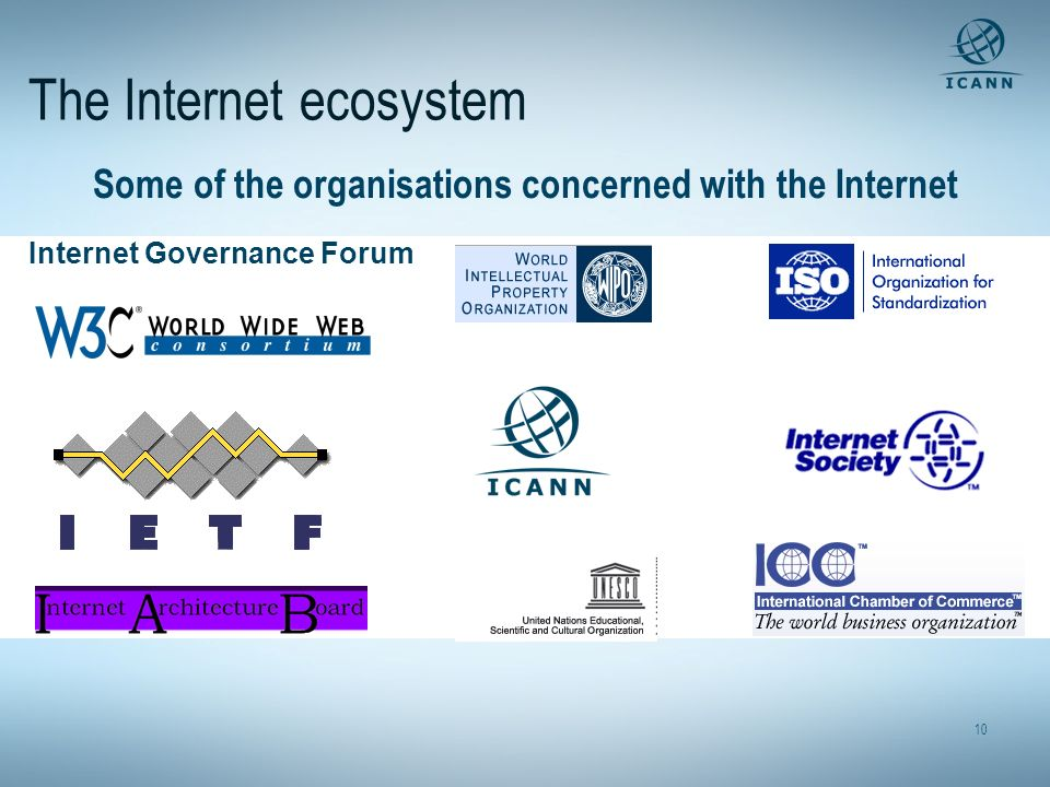 10 The Internet ecosystem Some of the organisations concerned with the Internet Internet Governance Forum