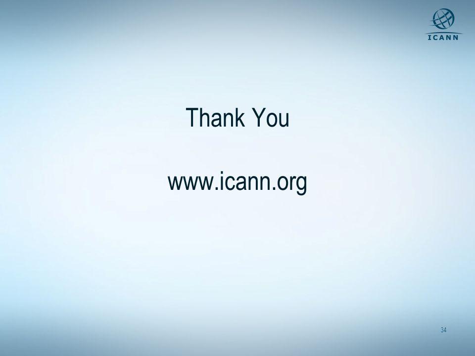 34 Thank You www.icann.org