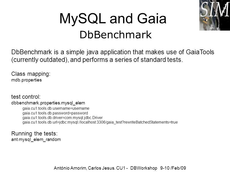 MySQL and Gaia António Amorim, Carlos Jesus. CU1 - DBWorkshop 9-10 /Feb/09 DbBenchmark is a simple java application that makes use of GaiaTools (curre