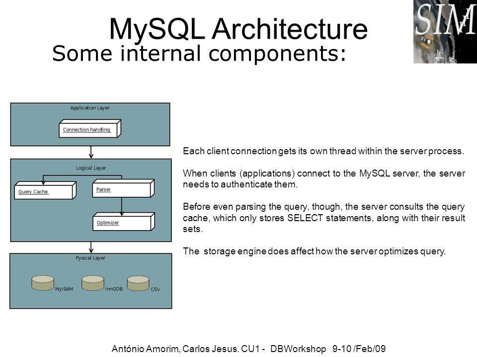 MySQL Architecture Some internal components: António Amorim, Carlos Jesus. CU1 - DBWorkshop 9-10 /Feb/09 Each client connection gets its own thread wi