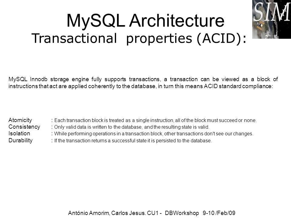 MySQL Architecture Transactional properties (ACID): António Amorim, Carlos Jesus. CU1 - DBWorkshop 9-10 /Feb/09 MySQL Innodb storage engine fully supp